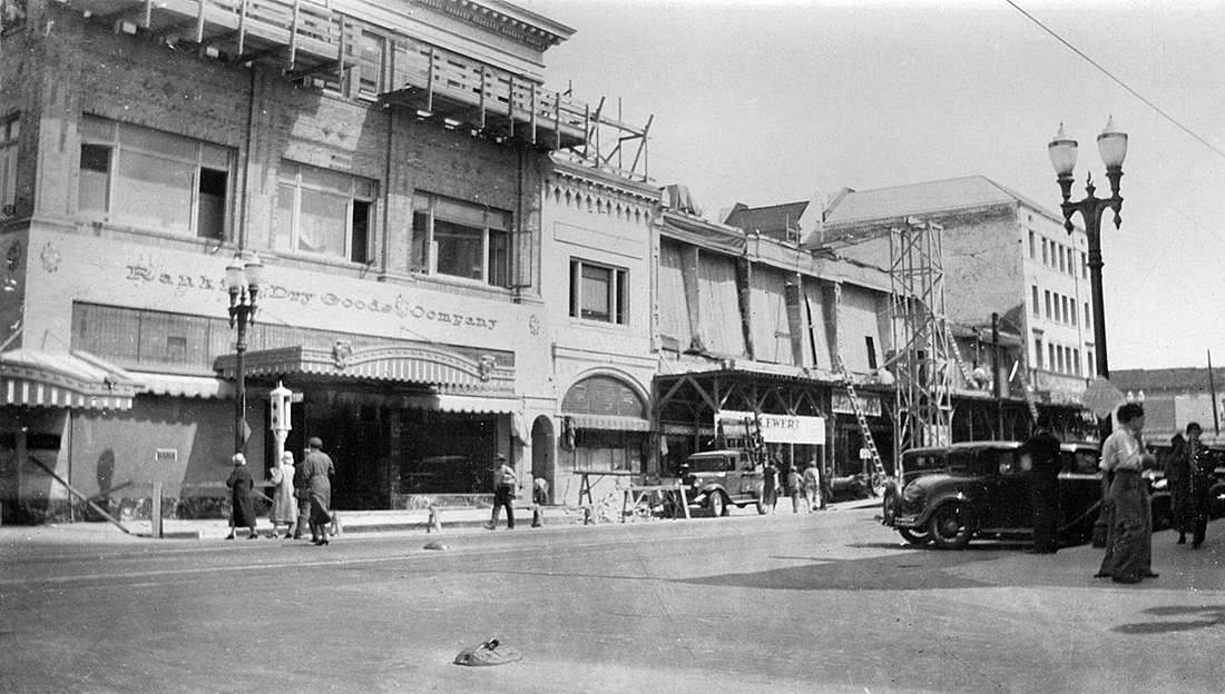 After the 1933 earthquake, Fourth St. & Sycamore, Santa Ana