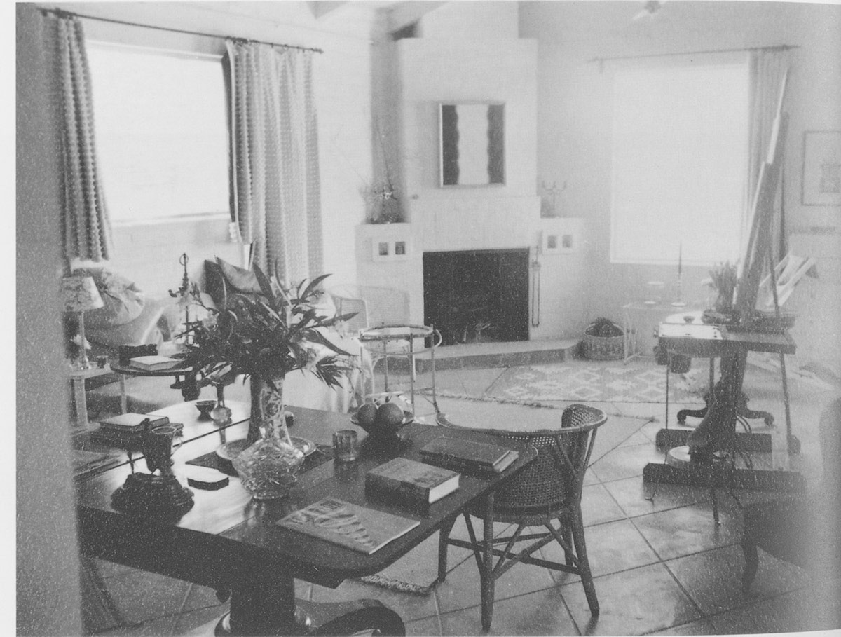 Interior of Agnes Pelton's home, Cathedral City, 1942. | Raymond Jonson Archives, University of New Mexico Art Museum, Albuquerque.