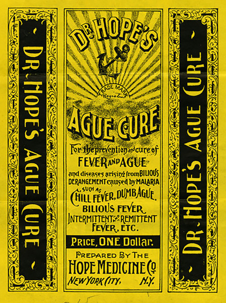 """Dr. Hope's Ague Cure"" label, 1896 