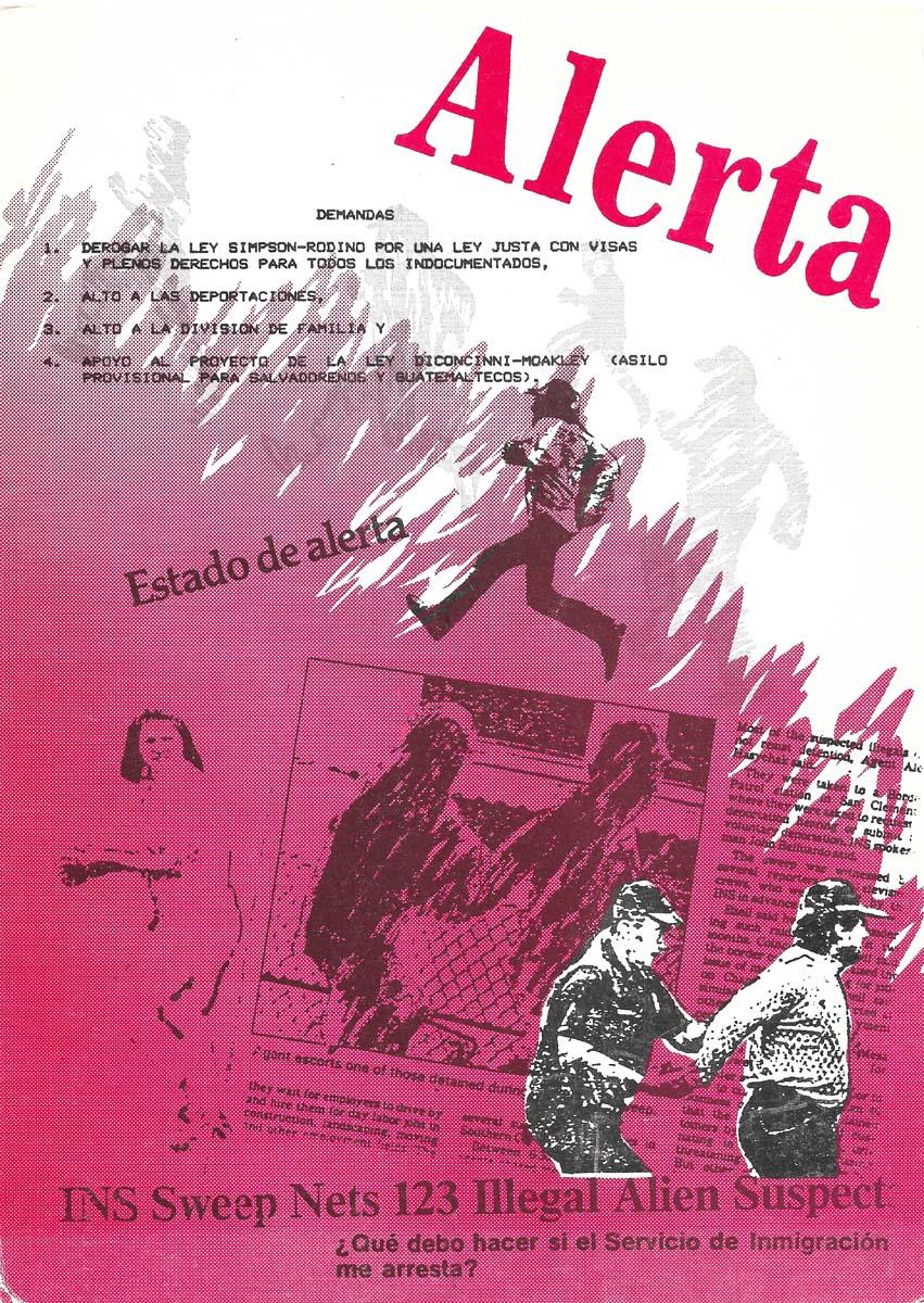 """""""Alerta"""" exhibition announcement at Salt Help Graphics , 1987.   Courtesy of Yreina D. Cervántez"""