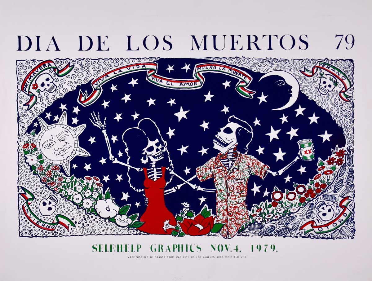 """The Four Seasons"" by Alfredo de Batuc (1979 Commemorative Dia de Los Muertos Print) | Courtesy of Self Help Graphics & Art"