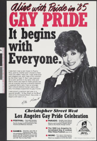 """Alive with pride in '85 poster featuring the words """"Gay pride; It begins with everyone,"""" poster, 1985. 