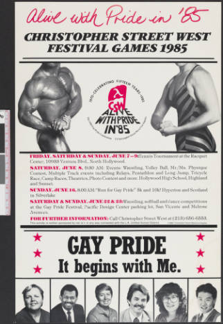 Alive with pride in '85 Christopher Street West festival games 1985, poster.   Christopher Street West/Los Angeles, ONE National Gay and Lesbian Archives, USC Libraries