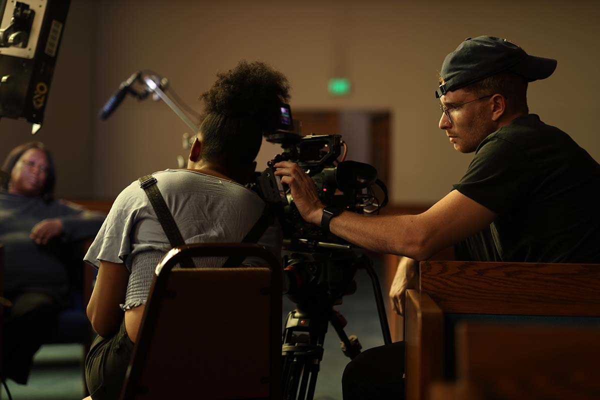 """Allison Waite and her crew interviewing someone for """"The Dope Years: The Story of Latasha Harlins."""" 