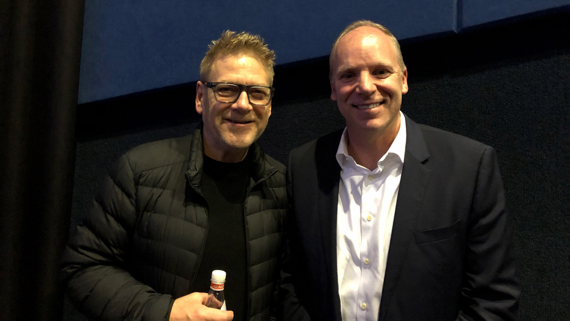 "Director/Actor Sir Kenneth Branagh with President and CEO of Public Media Group of Southern California Andy Russell after a screening of ""All Is True"""