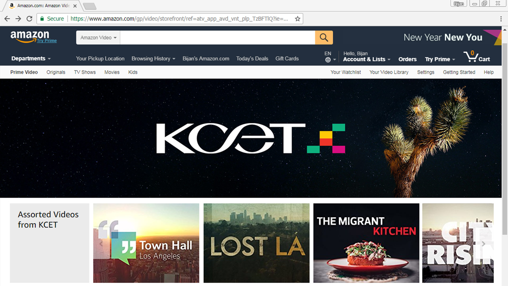 Screenshot of KCET on amazon.com