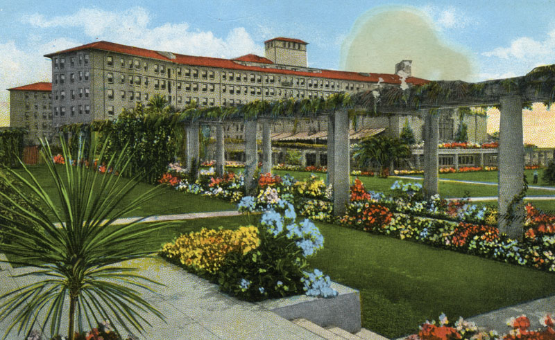 Undated color postcard of the Ambassador Hotel