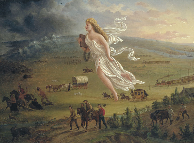 American Progress (1872), a painting by John Gast, depicts American Indians repelled magically westward by the technology of the telegraph. | Photo: The Autry Museum