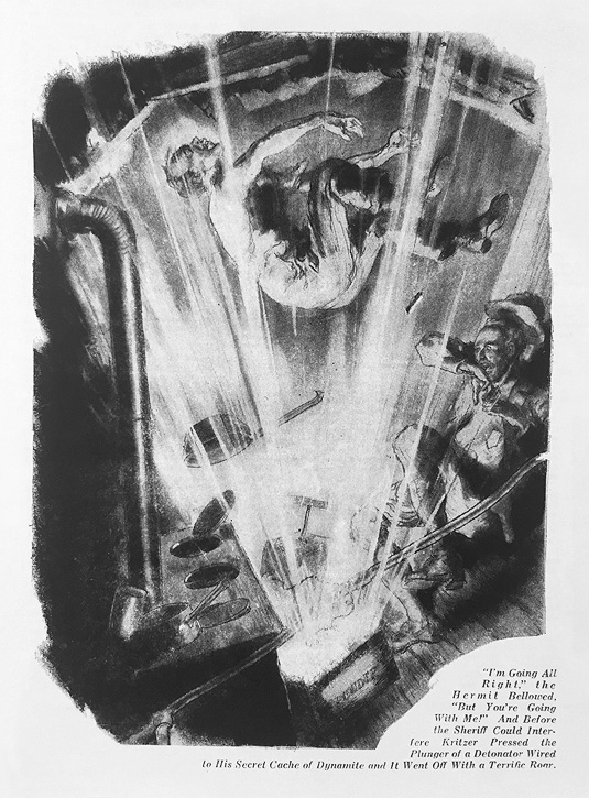"""Illustration from a November 8, 1942 American Weekly story titled, """"How the Hermit of Giant Rock Sealed his Strange Secret."""" 