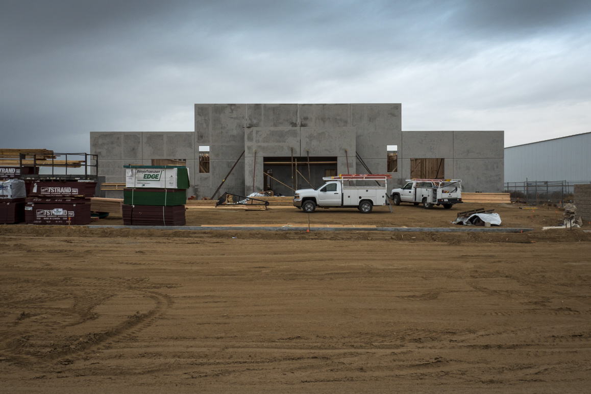 An under construction Adelanto warehouse specifically being built for large-scale indoor commercial cannabis cultivation. Photo: Kim Stringfellow.