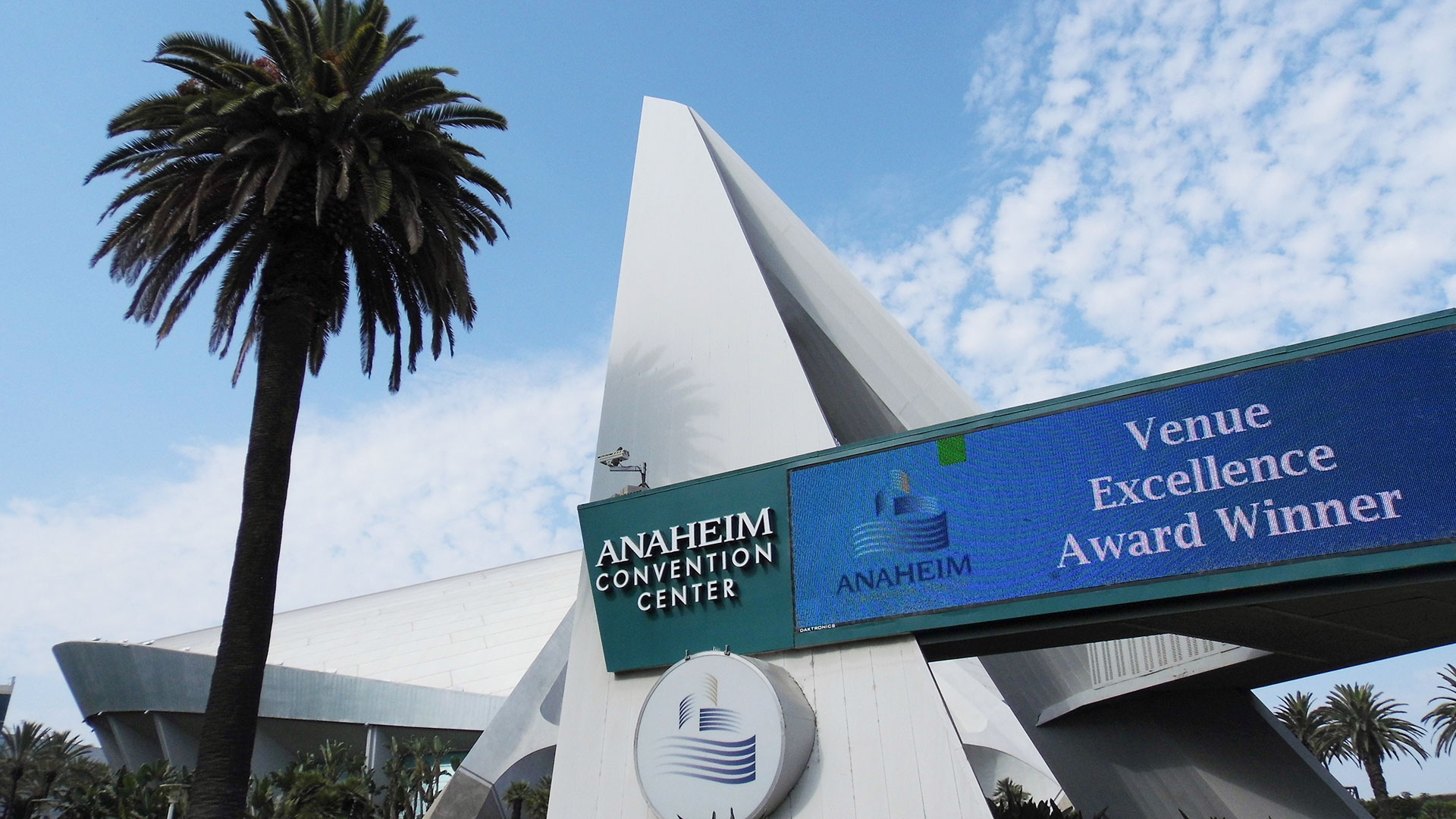 "The Anaheim Arena displays an ""Venue Excellence Award Winner"" banner outside the arena."