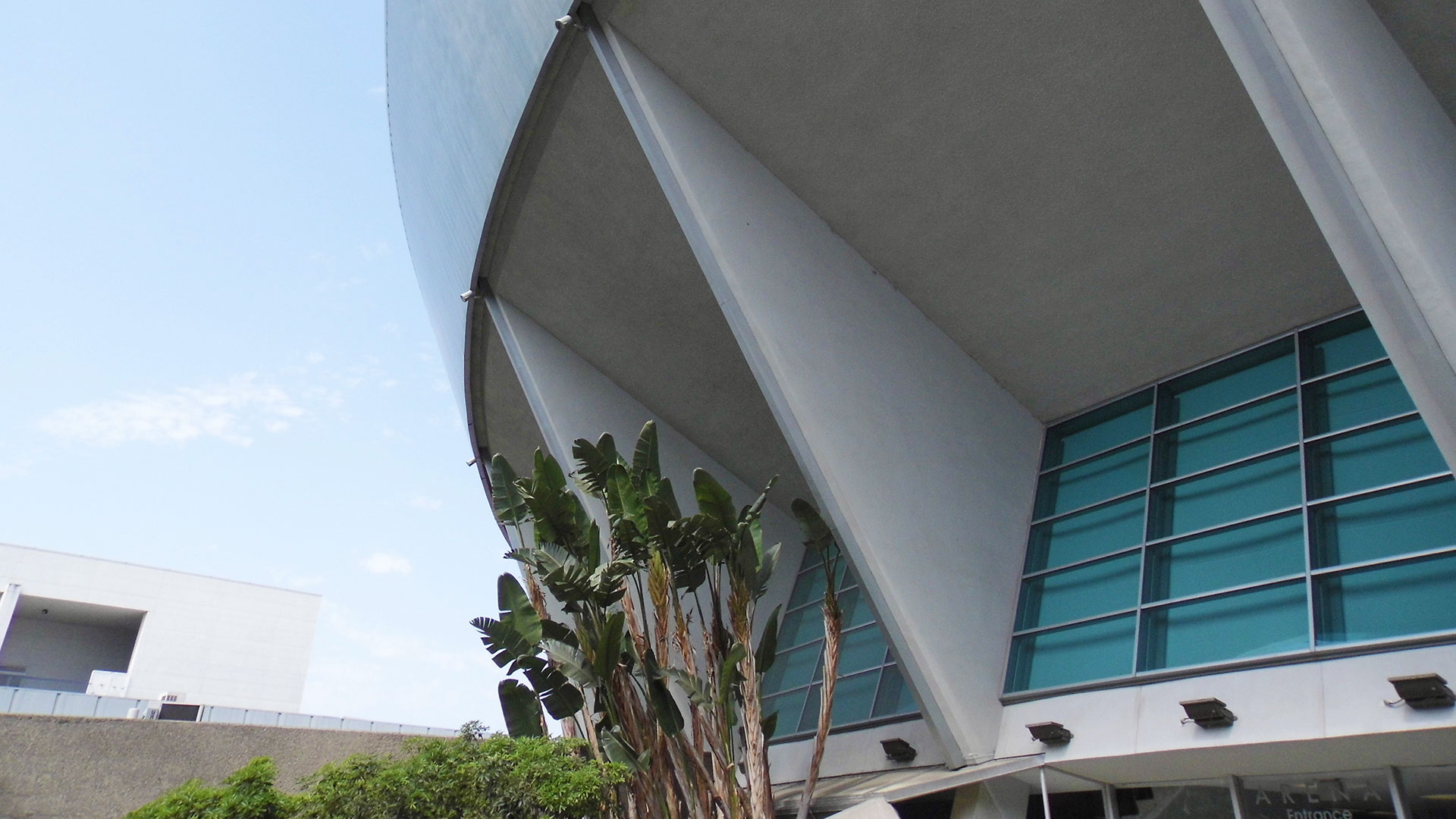 Close shot of a portion of the Anaheim Arena.