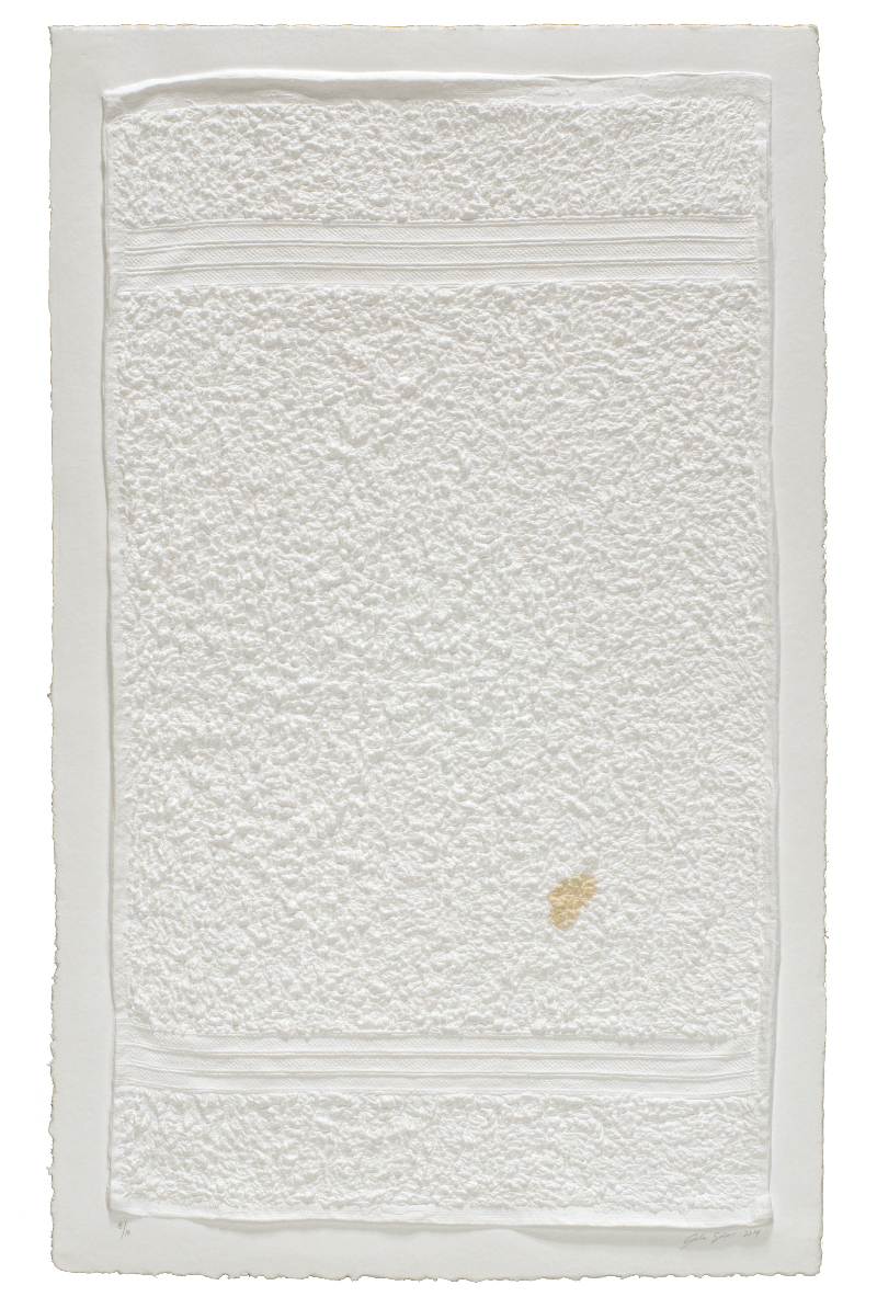 "Analia Saban, ""Three-Stripe Hand Towel with Stain,"" 2014"