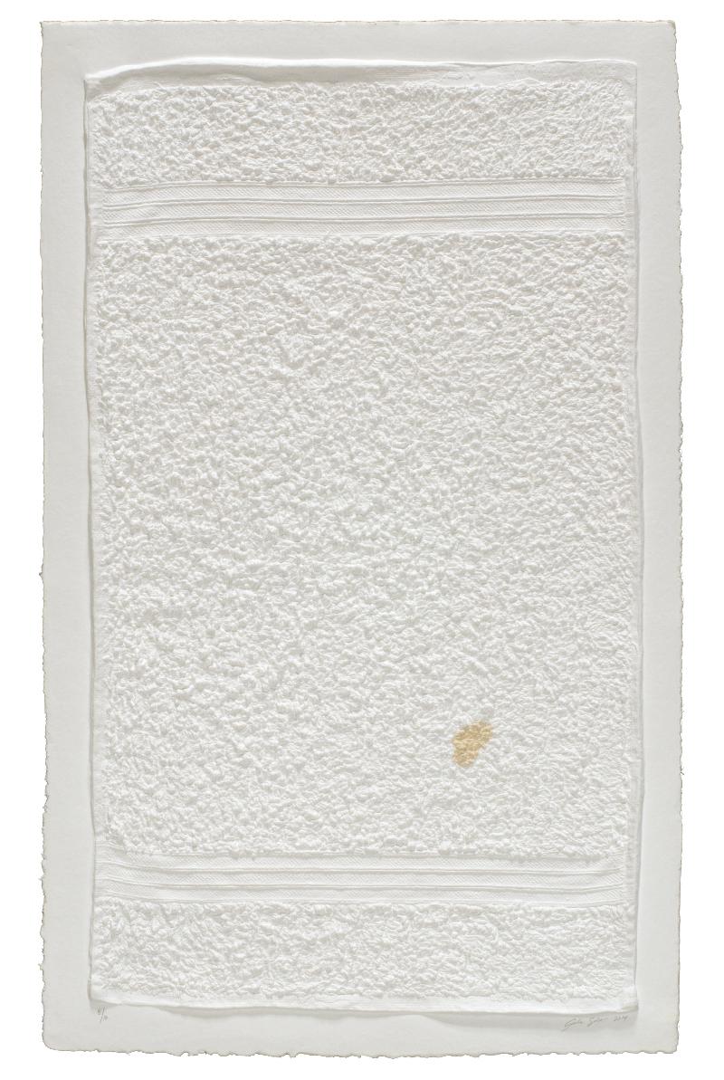 "Analia Saban, ""Three-Stripe Hand Towel with Stain,"" 2014"