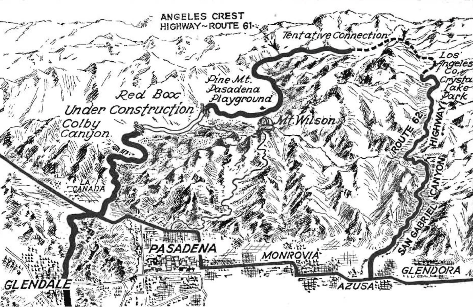 Map of the Angeles Crest Highway, 1934