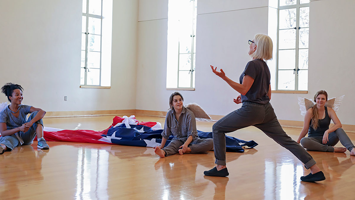 Ann Carlson teaching in the UCLA Department of World Arts and Cultures/Dance. | Courtesy of UCLA