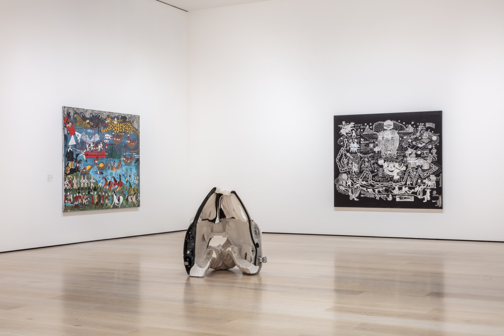 """An installation view of Ann Greene Kelly and Umar Rashid's work at """"Made in L.A. 2020: a version."""" at Hammer Museum, Los Angeles. 