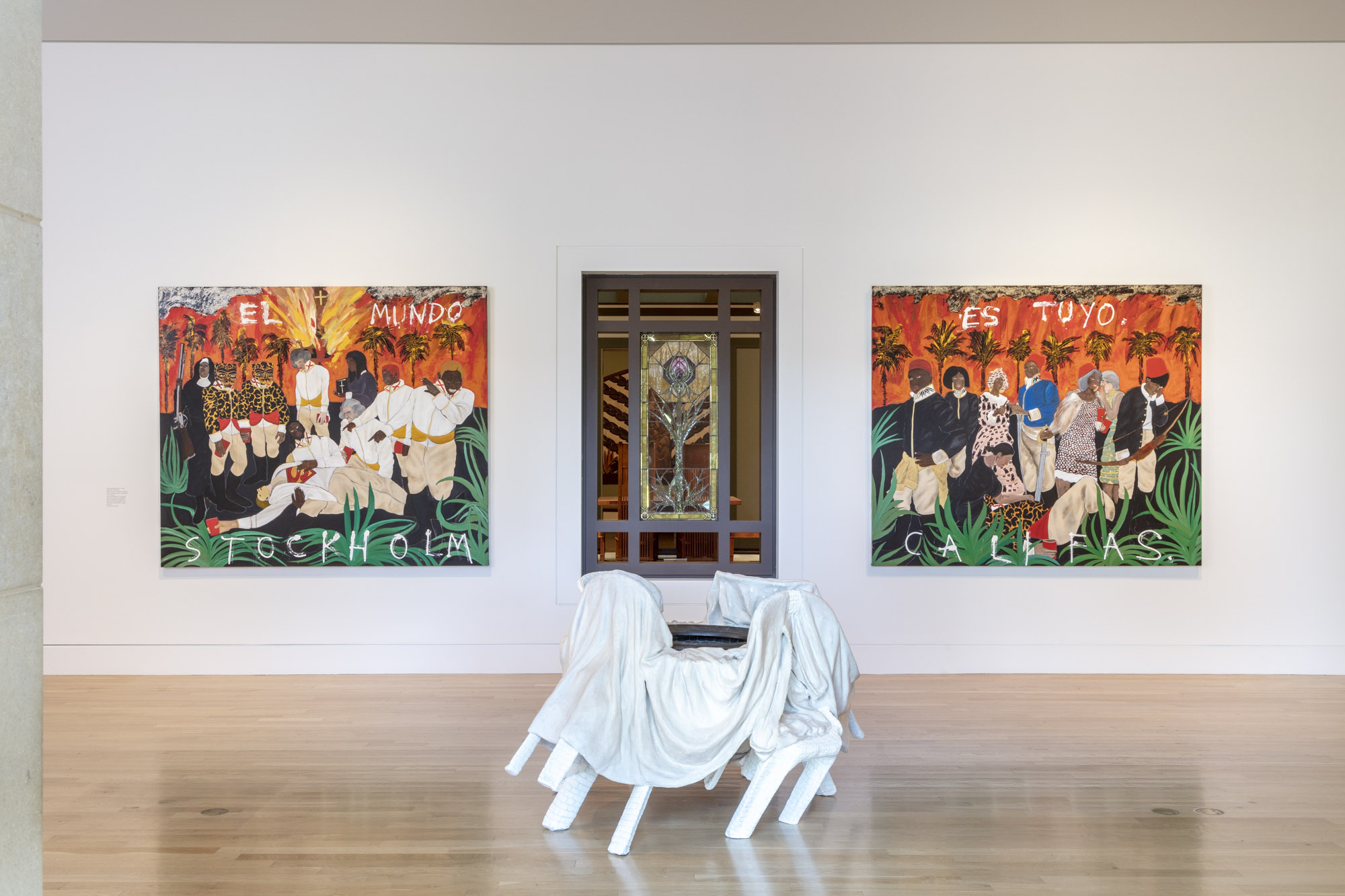 """An installation view of Ann Greene Kelly's work at """"Made in L.A. 2020: a version"""" at The Huntington Library, Art Museum, and Botanical Gardens, San Marino. 