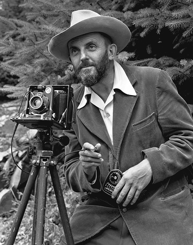 Ansel Adams and Camera | Photo of Ansel Adams by J. Malcolm Greany, 1950
