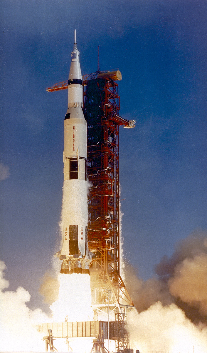 The Saturn V launch vehicle (SA-506) for the Apollo 11 mission liftoff at 8:32 am CDT, July 16, 1969, from launch complex 39A at the Kennedy Space Center. | NASA