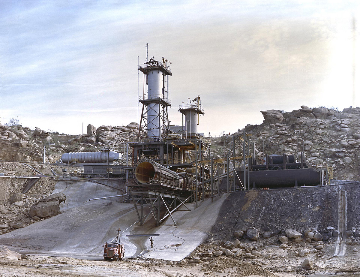 """The vertical test stand for testing the J-2 engine at Rocketdyne's Propulsion Field Laboratory, in the Santa Susana Mountains, also known as """"The Hill."""" 