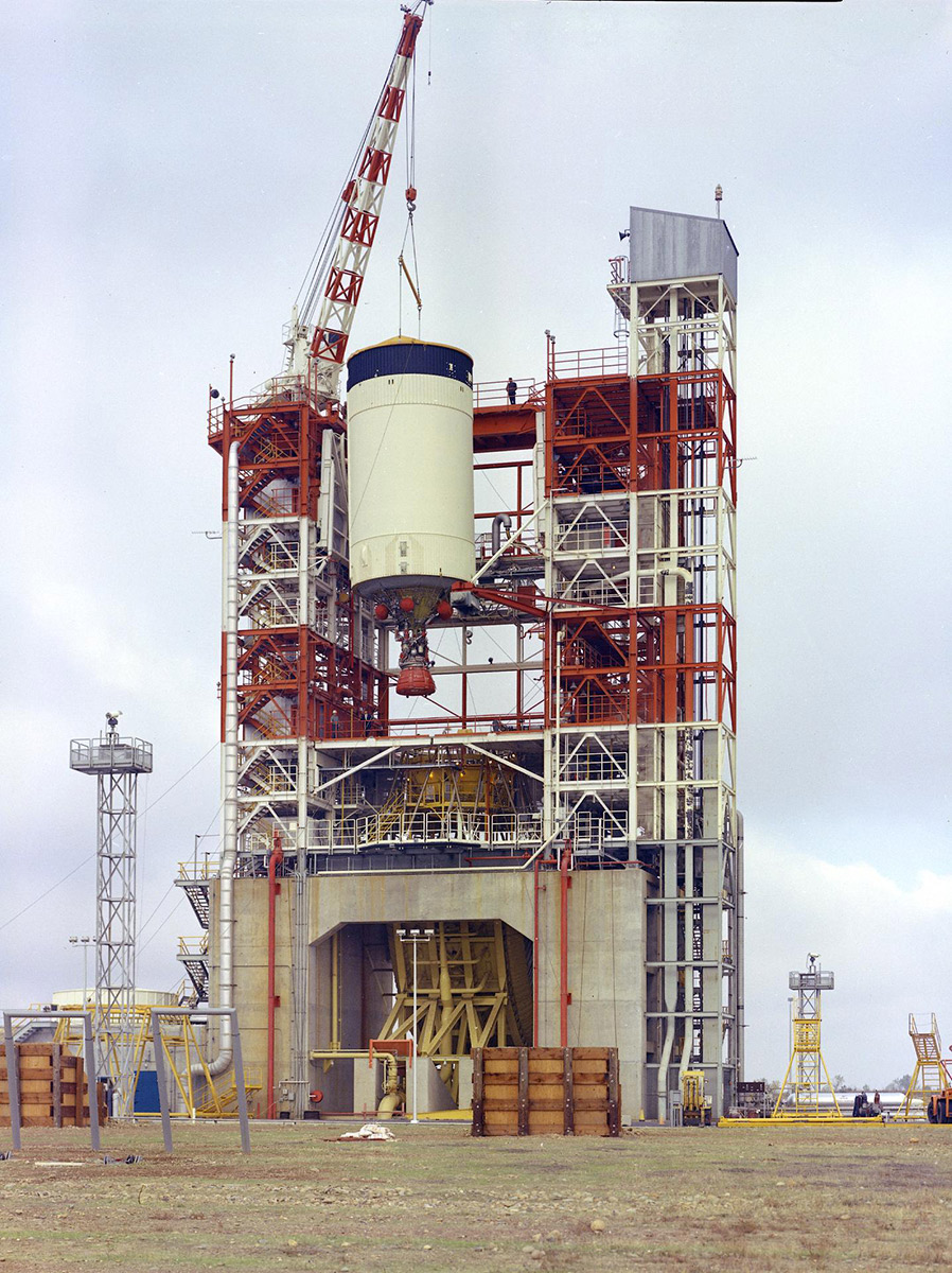The Saturn V S-IVB (third) stage for the Apollo 10 mission being removed from the Beta Test Stand 1 after its acceptance test at the Douglas Aircraft Company's Sacramento Test Operations facility. | Courtesy of NASA