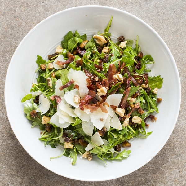 Arugula Salad with Figs, Prosciutto, Walnuts and Parmesan
