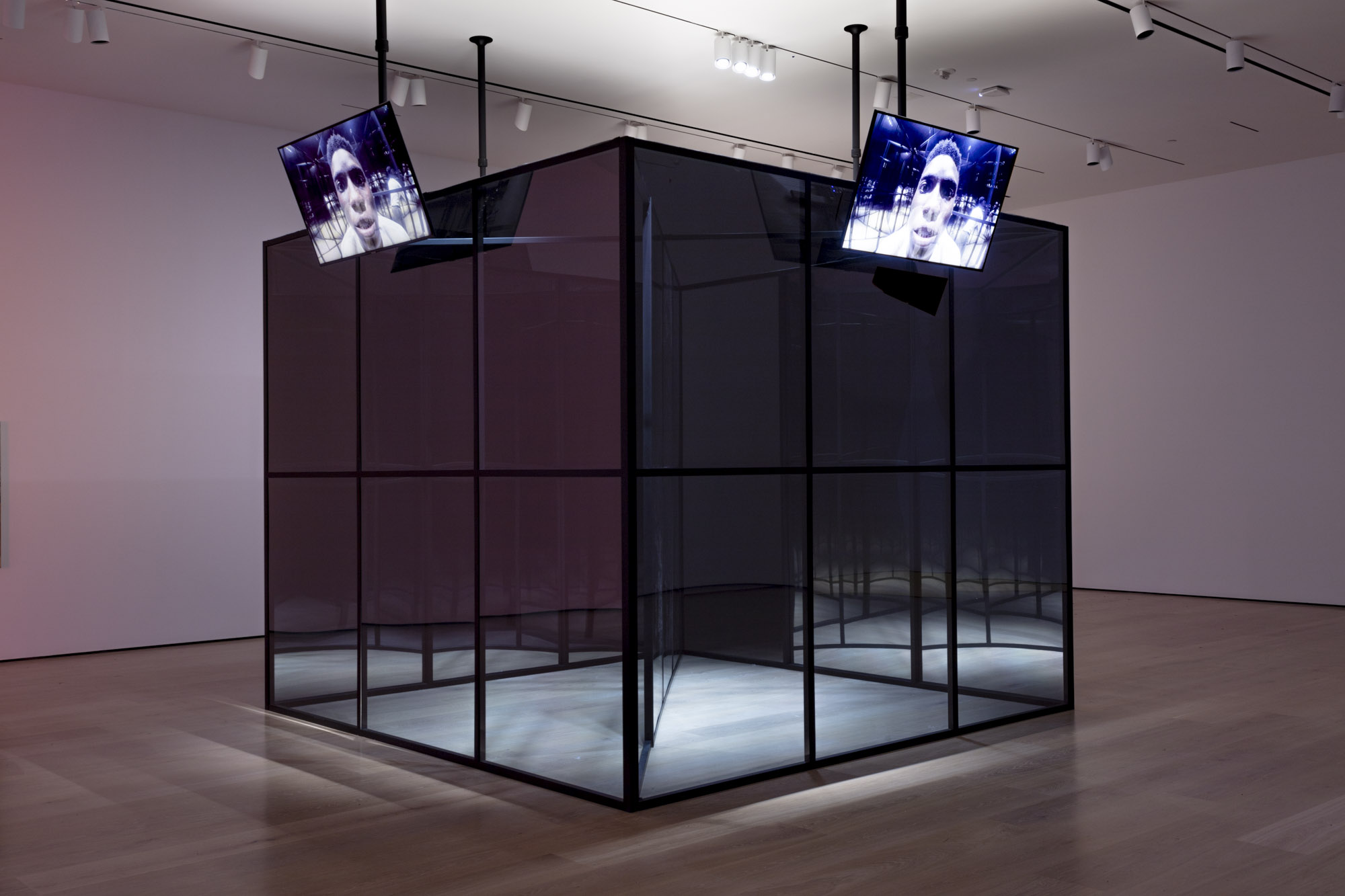 """An installation view of Aria Dean's work at """"Made in L.A. 2020: a version."""" at Hammer Museum, Los Angeles. 