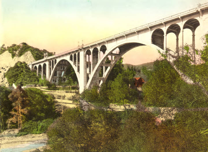 The Colorado Street Bride: Pasadena's answer to the Rome's aqueducts. Colorized, ca. 1915 photo courtesy of the Pasadena Public Library.