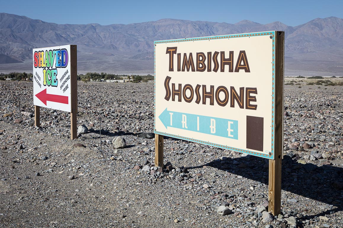 Timbisha Shoshone signage welcoming visitors