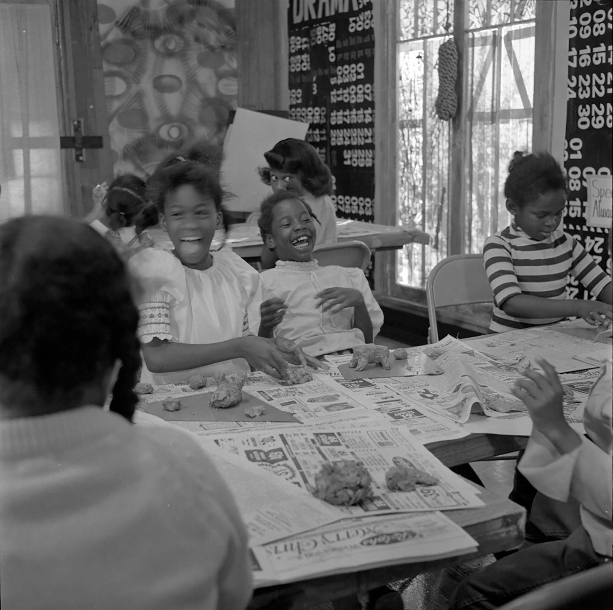 Students enjoyed a variety of art making activities at the Happening House. | Willie Ford, Jr. and the Compton Communicative Arts Academy Collection, Special Collections and Archives, John F. Kennedy Memorial Library, California State University, L.A.