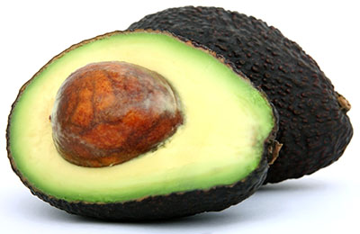 Hass avocado cut open