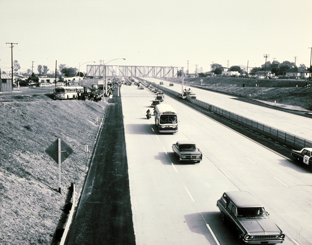 1966 photo of the opening of the final stretch of the Santa Monica Freeway, courtesy of the Santa Monica Public Library Image Archives.
