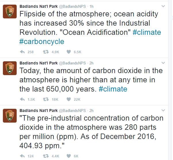 Badlands NPS deleted tweets