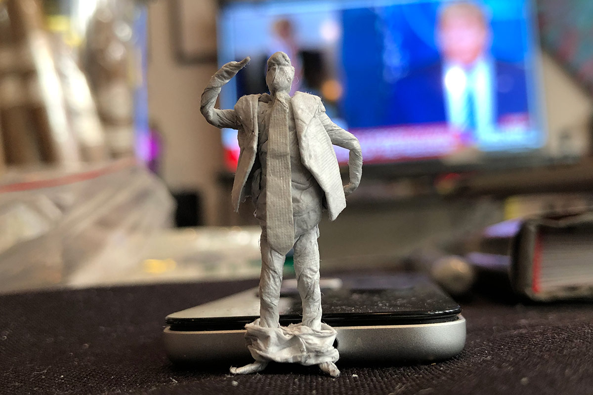 Barrois' model of Donald Trump sans pants prior to painting. | Courtesy of Lyndon Barrois Sr.