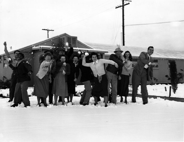 A snowball fight at the Basilone Homes in Pacoima after the 1949 storm
