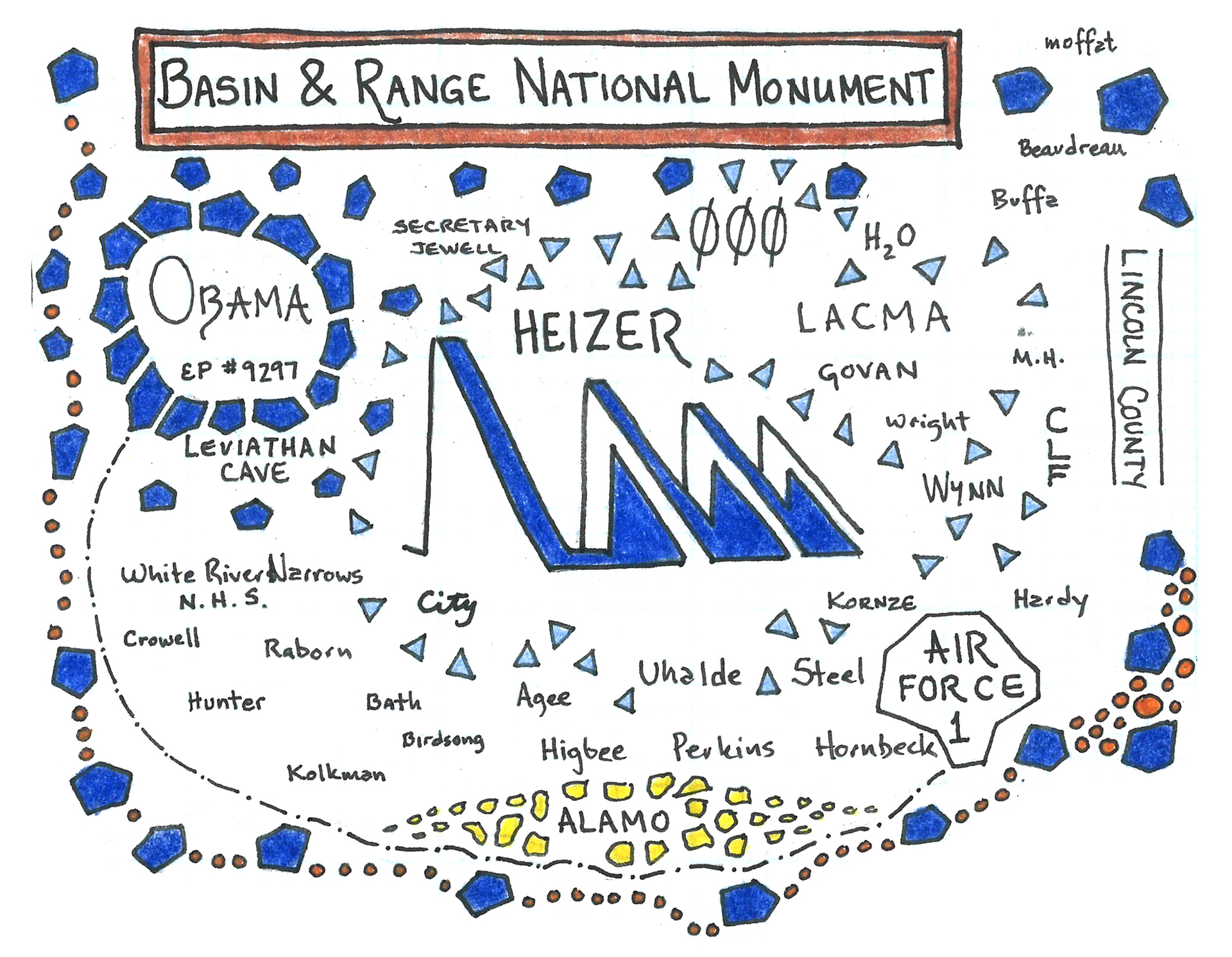 """The """"Basin and Range National Monument"""" panel represents what it took to protect the area where artist Michael Heizer's 'City' installation was built.  