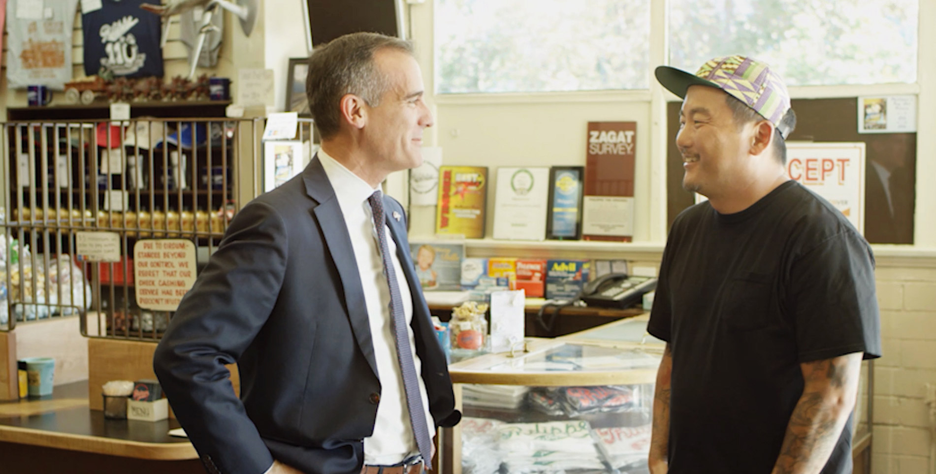 "In the episode ""Transformation"" Roy Choi and L.A. Mayor Eric Garcetti discuss workforce models with a purpose over French dip sanwiches at iconic L.A. restaurant Phillipes."
