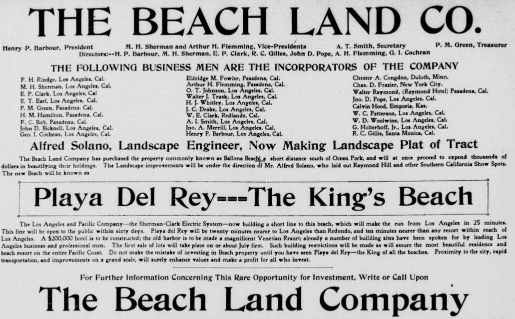 The Beach Land Co. advertisement