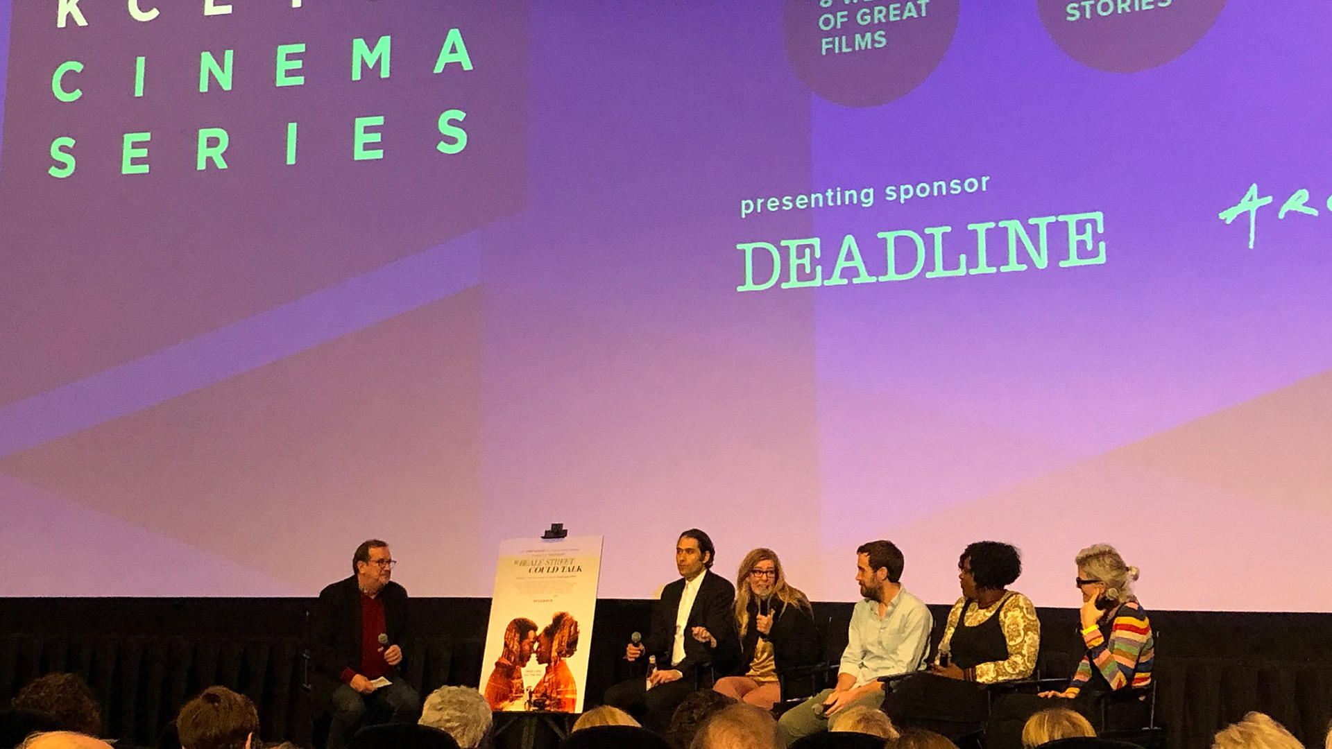 "Cinema Series host Pete Hammond, Producers Jeremy Kleiner and Dede Gardner, Editors Nat Sanders and Joi Mcmillan and Costume Designer Caroline Eselin-Schaefer participate in a Q&A after a screener of ""If Bleaker Street Could Talk"""