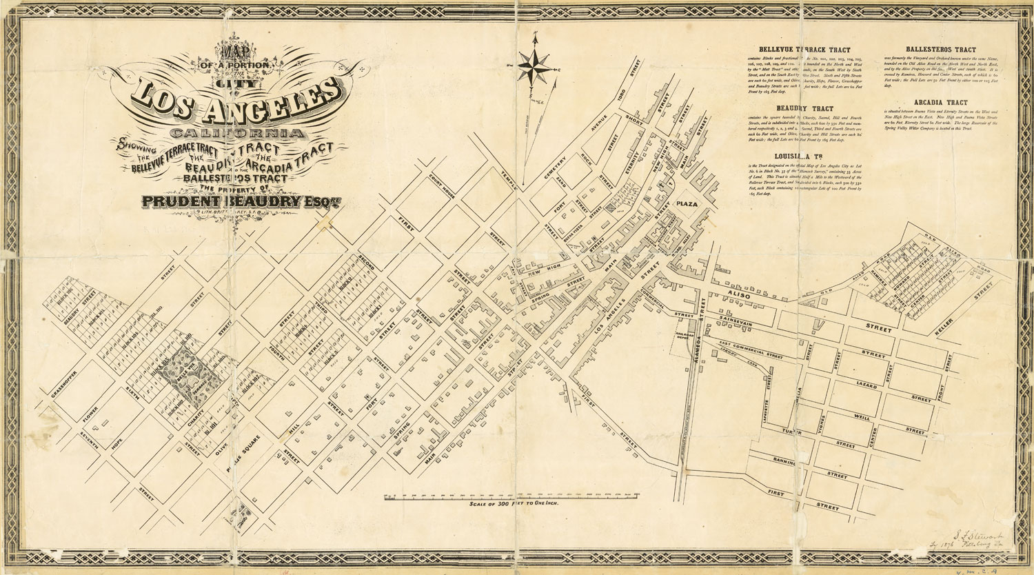 Bellevue Terrace appears prominently within the larger, trapezoidal Bellevue Terrace Tract in this 1868 map of Beaudry's real estate holdings. Courtesy of the Map Collection - Los Angeles Public Library.