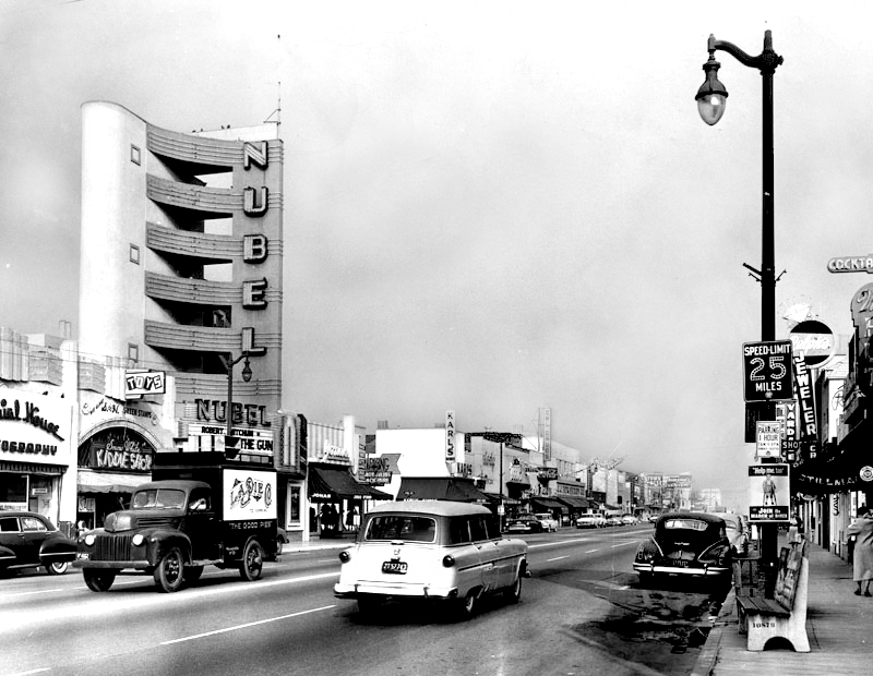 Bellflower Boulevard at Flower Street, 1956. Photo courtesy of the Herald-Examiner Collection – Los Angeles Public Library