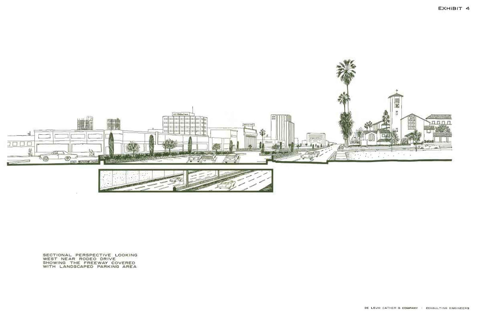 From the 'Report on Geometric Design Proposed Beverly Hills Freeway for Beverly Hills City Council' by De Leuw, Cather & Company, 1964. Courtesy of the Metro Transportation Library and Archive.