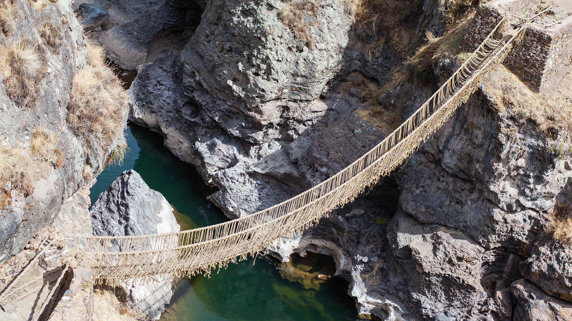 An overhead view of the Q'eswachaka Bridge in Peru.