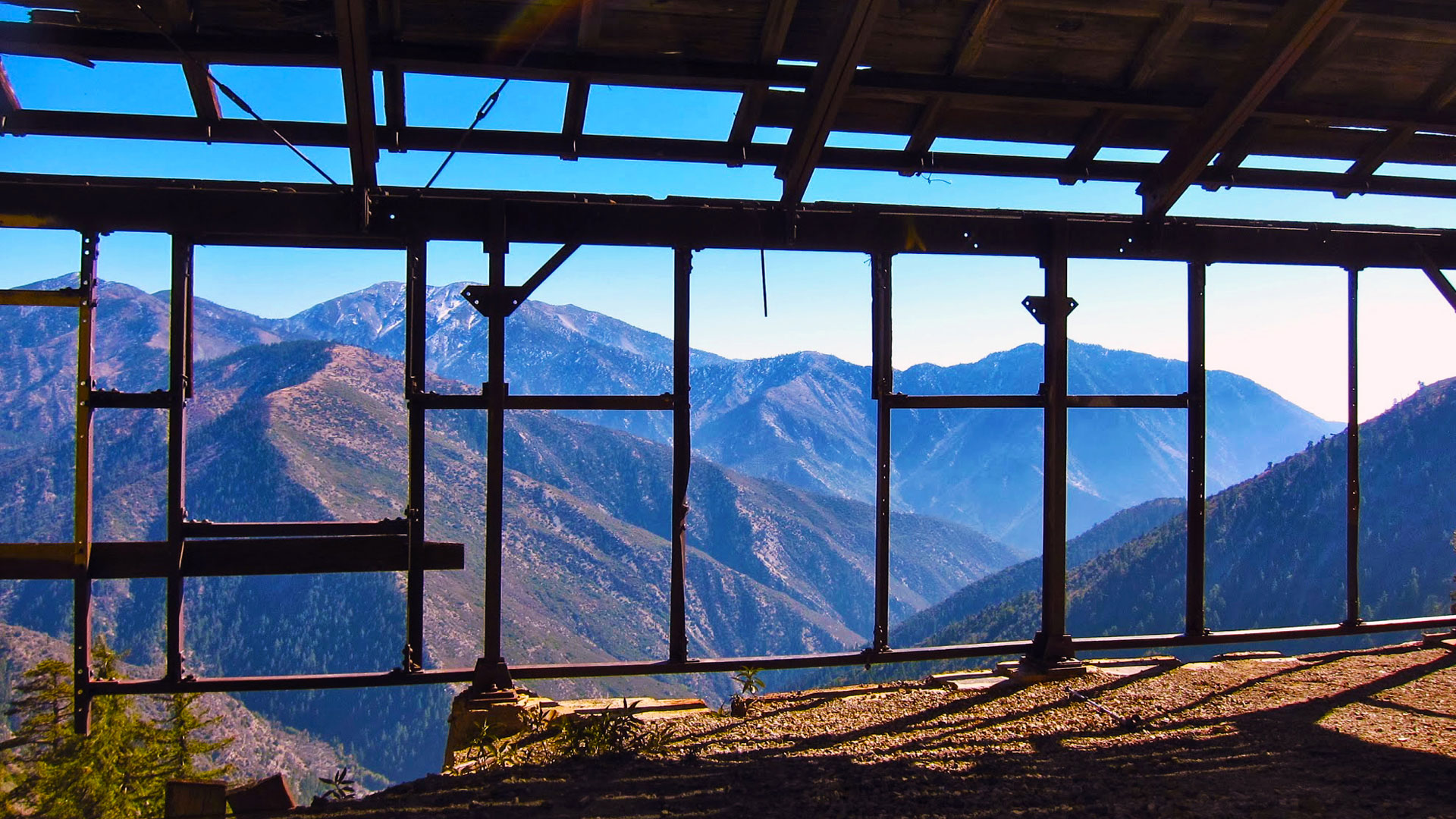 The San Gabriels through the ruins of the Big Horn Mine. | Photo: Daniel  Medina. ice house canyon