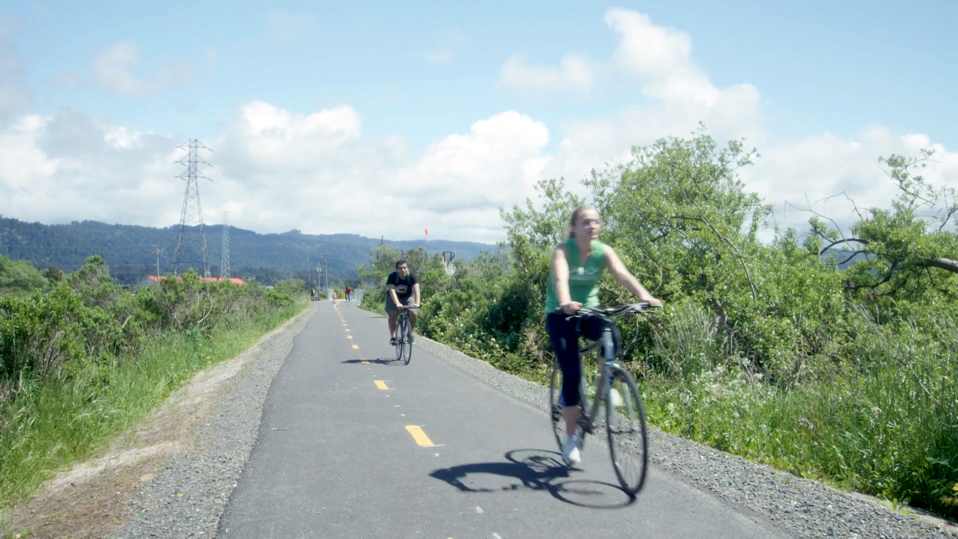 bikers on the humboldt bay trail