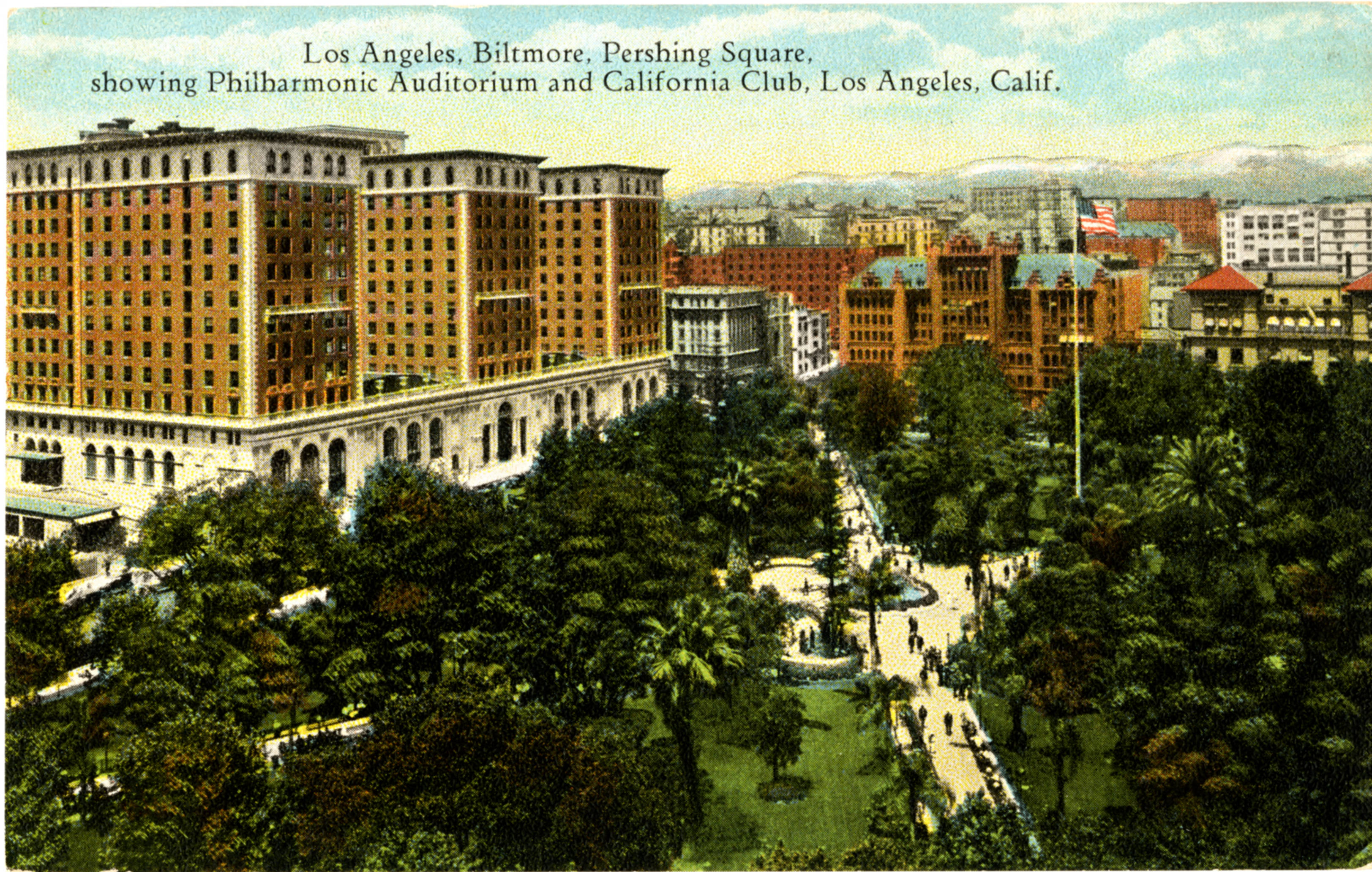 Los Angeles, Biltmore, Pershing Square showing Philharmonic Auditorium and California Club, Los Angeles, Calif.