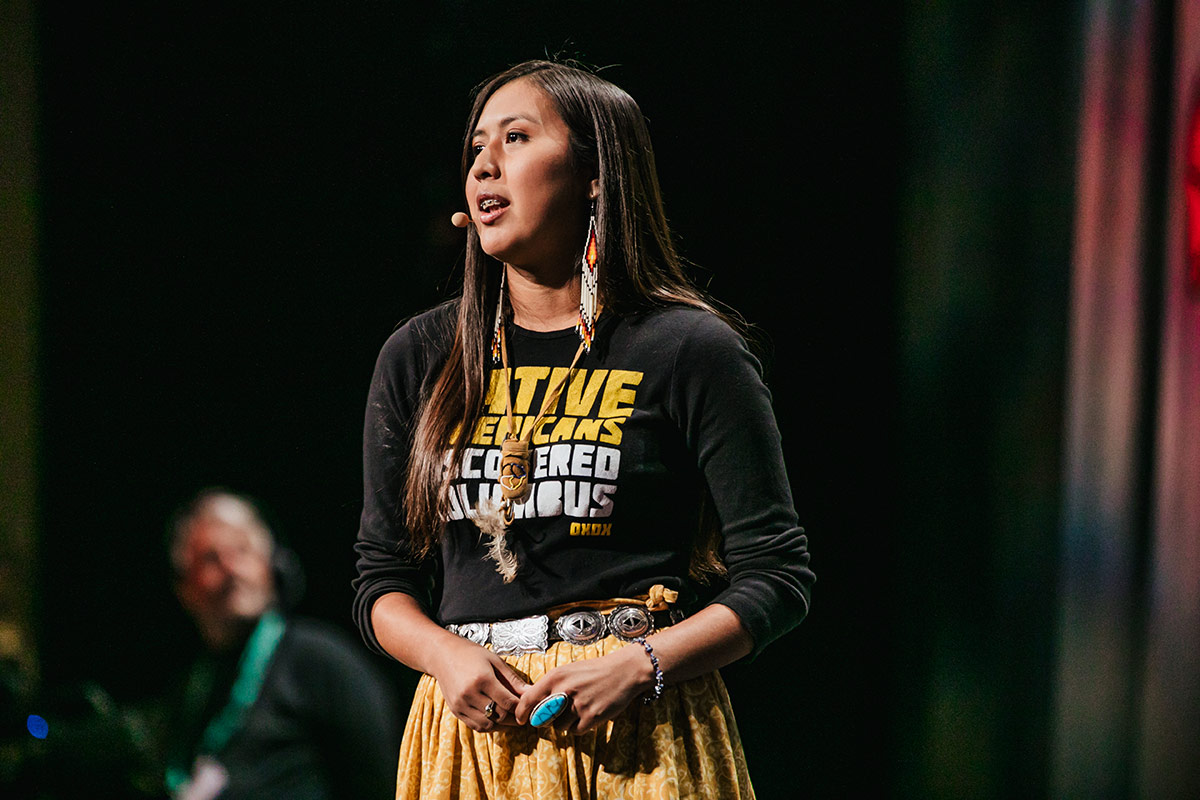 Naelyn Pike speaks at the 2017 Bioneers Conference.   Nikki Richter, Courtesy of Bioneers