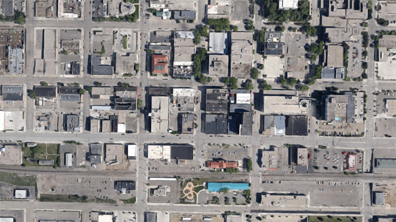 Not a solar panel in sight. Aerial view of downtown Bismarck, ND | Photo: Google Earth