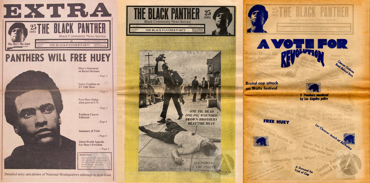 Black Panther magazine covers from September 14, 1968; May 11, 1969 and October 12, 1969.   Archive.org